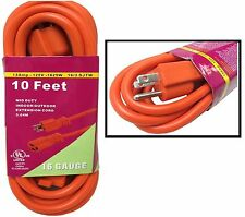 10 FT Orange Indoor Outdoor Extension Electric Power Cord Cable 16 Gauge UL BN34