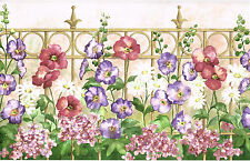 Wrought Iron Picket Fence Purple Spring Flower Garden Kitchen Wall paper Border