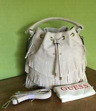 Guess Carmen Fringe Cream White Bucket Handbag Crossbody Bag