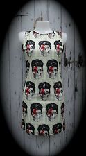 David Bowie Skull Dress - Size 8 10 12 - Digital Print Bodycon Wiggle Alternativ