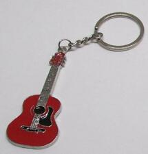 ACOUSTIC Red GUITAR Metal Alloy KEY CHAIN Ring Keychain NEW