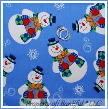 BonEful Fabric FQ Cotton Quilt Blue White Red Snowman Xmas Swirl Red Frosty RARE