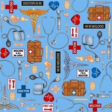 What The Doctor Ordered Medical Supplies Blue Cotton Fabric Fat Quarter