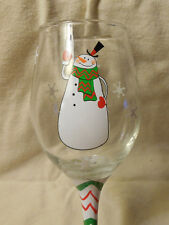 Waving Snowman Wine Glass 10 fl oz.