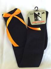 Ladies Girls Long Over The Knee Black/White Socks With Coloured Satin Bows