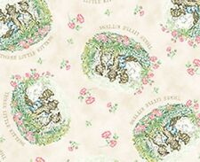 Beatrix Potter 3 Little Kittens (Cream) Cotton Quilting Fabric - Fat Quarter