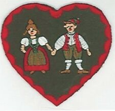 German Hansel Gretel Heart Embroidery Applique Patch