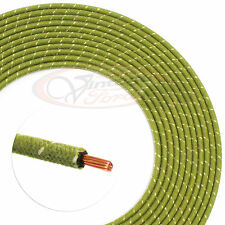 VINTAGE HOT ROD CLOTH COVERED WIRE 14 GA. GREEN & WHITE 16 FT. ROLL USA #17625
