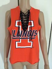 NEW URBAN OUTFITTERS ORANGE VINTAGE 90s ILLINOIS LACE UP TIE VEST TSHIRT TOP S