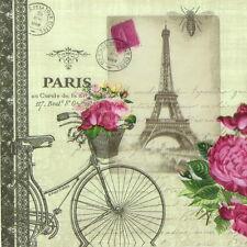 4x Single Table Party Paper Napkins for Decoupage Decopatch Vintage Vélo Paris