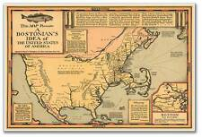 Bostonian's Idea of the United States of America Old Boston USA MAP circa 1930