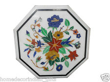 """12"""" Marble Side Coffee Table Top Multi Inlay Marquetry Floral Patio Decor H359"""