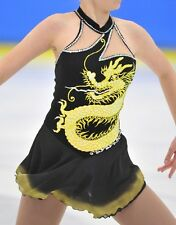 Black Girl's Figure Skating Sleeveless Dress with hand painted yellow dragon