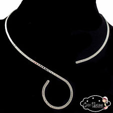 Silver Hammered S Collar Choker Necklace Wire 2mm Thin (CS8)