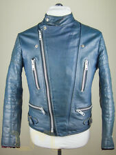 WOLF teal/blue leather Biker jacket Vintage
