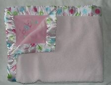 Carters Just One Year Sherpa Baby Blanket Pink Green Dots Satin Trim