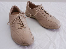 Used Womens 36 6 ECCO Beige Nubuck Leather Bicycle Toe Comfort Sneakers Oxfords