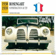 ROSENGART SUPERTRACTION LR 539 1938 1939 CAR VOITURE FRANCE CARTE CARD FICHE