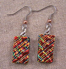"""Dichroic Glass Earrings Copper Red Rusty Orange Ripple 1"""" Dangle Surgical Wire"""