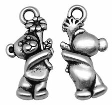 23g (Approx 25pcs) Tibetan Silver Colour Teddy with Flower Charm