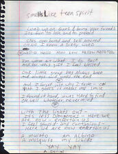 NIRVANA REPRO SMELLS LIKE TEEN SPIRIT LYRICS KURT COBAIN HAND WRITTEN NEVERMIND