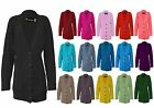 Womens Ladies Long Sleeve Chunky Button Cable Knitted Grandad Cardigan Top 8-22