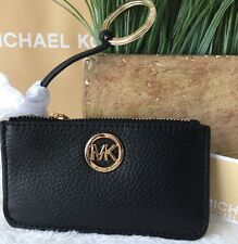 MICHAEL KORS FULTON KEY POUCH KEY CHAIN PEBBLED LEATHER 35F4GFTP1L,BLACK,NWT