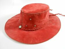 Vintage Leather Mexican Western Hippie Hat XLarge Redish Pink