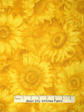 Sunflower Floral Fabric - Sun Flower Autumn Fall Tonal Yellow Wilmington - Yard