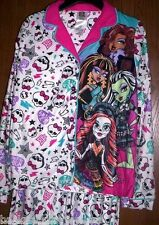 MONSTER High Fleece Pajamas 14/16 NeW Button Down Shirt Pants Warm Winter Pjs