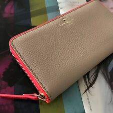 NWT Kate Spade Beige Flo Leather Cobble Hill Lacey Zip Around Wallet PWRU4938