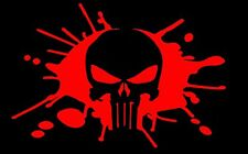 Punisher Decal - Red Splatter Outline Skull Sticker - 6 inch Tall x  9 inch Wide