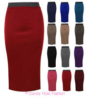 LADIES PLAIN OFFICE WOMENS STRETCH  BODYCON MIDI PENCIL SKIRT PLUS SIZE 8-22