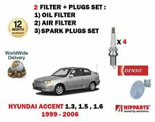FOR HYUNDAI ACCENT 1.3 1.5 1.6 1999-2006 OIL AIR FILTER KIT + SPARK PLUGS SET
