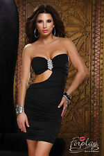 SEXY MINI ABITO TUBINO VESTITO SERA NERO PARTY TUBE BODYCON JEWEL DRESS FORPLAY