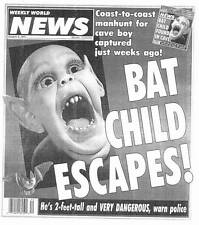 BAT CHILD ESCAPES! - Weekly World News October 6, 1992 - GIANT 100 FOOT OCTOPUS!