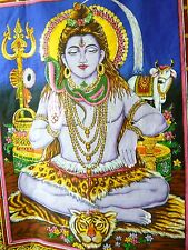 "HAND SEQUINED HINDU GOD SHIVA ""THE DESTROYER"" WALLHANGING/TAPESTRY+FINE ART BOOK"
