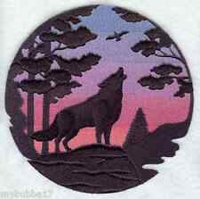 Wolf Silhouette at Sunset EMBROIDERED SET 2 BATHROOM HAND TOWELS NEW BY LAURA