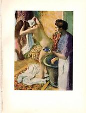 """1957 Vintage Full Color Art Plate """"BREAKFAST AFTER THE BATH"""" by Degas Lithograph"""