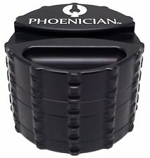 Phoenician Herbal Grinder - Large 4 Piece w/ Papers Holder - Black