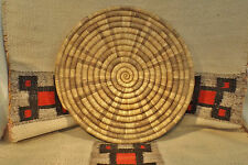 """Wonderful Native American Indian - Hopi coiled basket / tray/ plaque 15 & 1/2""""RX"""