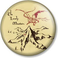 "The Lonely Mountain 25mm 1"" Pin Button Badge The Hobbit JRR Tolkien Novelty Geek"