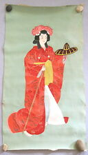 "VINTAGE JAPANESE HAND PAINTED SILK FABRIC~BEAUTY~25""X14""~LIGHT GREEN/RED/BROWN"
