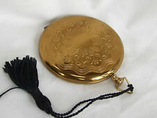 Vintage ZELL 5th Ave. GOLDtone Powder Compact Puff FREE Shipping! GORGEOUS!