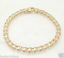 "8.5"" Mens Italian Railroad Bracelet Real Solid 14K Yellow Gold Lobster Clasp"
