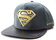 DC COMICS OFFICIALLY LICENSED ACTIVE CHROME SUPERMAN SNAPBACK CAP / HAT - GRAY