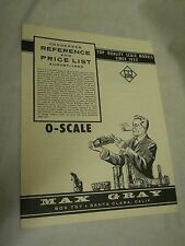 Max Gray Condensed Reference and Price List, August -1963, O-Scale
