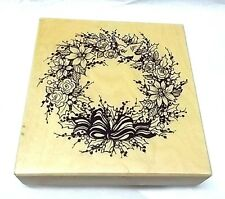 PSX K-3095 Christmas Wreath rubber stamp Dove Poinsettia Holly wood mounted