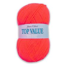 James C Brett Top Value Double Knitting DK Wool Yarn - Neon Orange 8455 (100g)