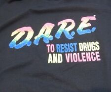Vtg 90's DARE Keep Kids Off Drugs Rainbow Neon Black T Shirt L
